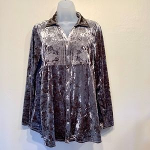 Michael Farrell Grey Velvet Embroidered Button Up